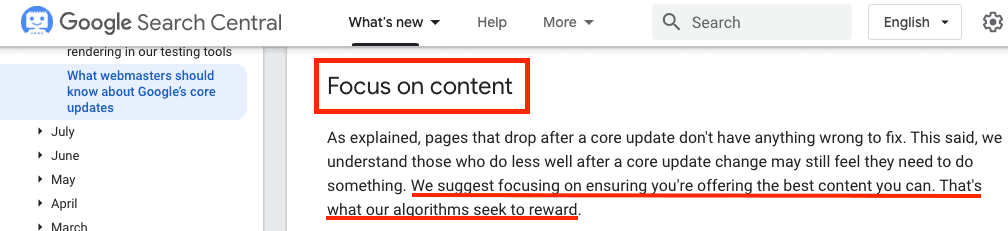 A screenshot from the Google Search Central site showing the company's official advice for SEOs after an algorithm update. TLDR: focus on ensuring that you're offering the best content you can.